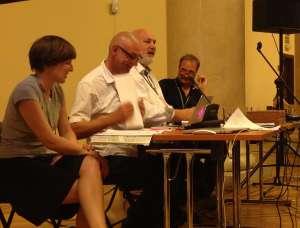 Die deutsche Delegation  beim Assitej Weltkongress: Meike Fechner, Gerd Taube, Wolfgang Schneider, Stefan Fischer-Fels